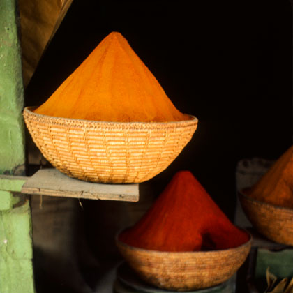 Open baskets filled with Pakistani spices