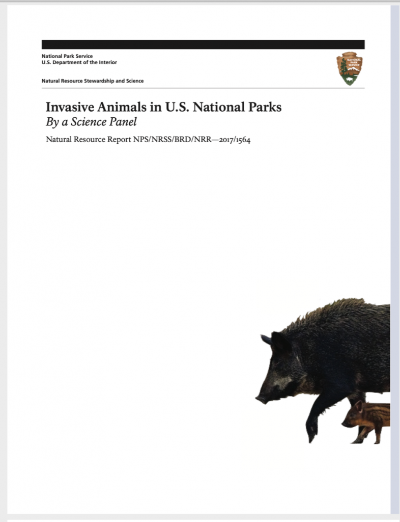 Report cover: Invasive Animals in U.S. National Parks By a Science Panel