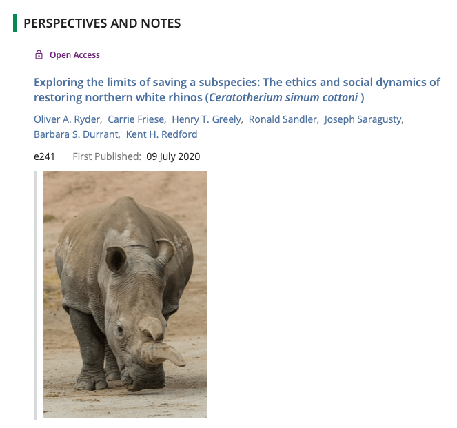 Report Cover: Exploring the limits of saving a subspecies: The ethics and social dynamics of restoring norther white rhinos