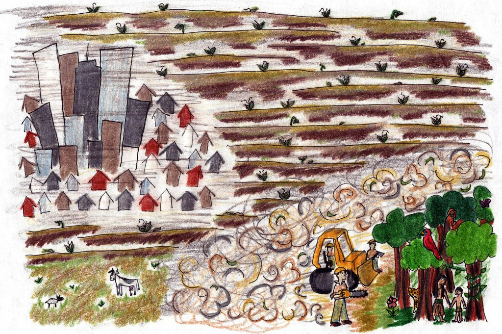 Child's drawing of city, fields, and bulldozer cutting down trees with people hiding in the trees
