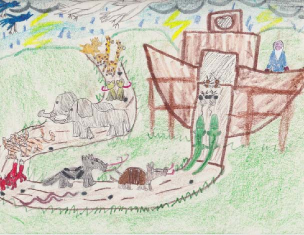 Child's drawing of Noah's ark, featuring crocodiles, aardvarks, elephants, frogs, and more