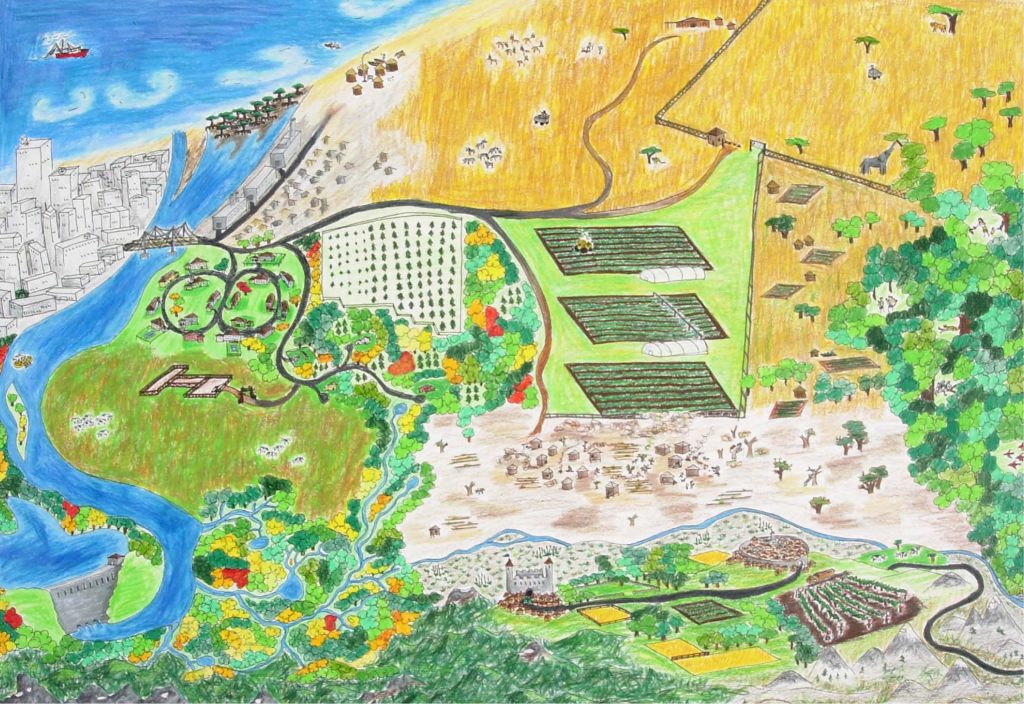 Child's drawing of large landscape featuring a city, farms, castle, neighborhoods, and dammed river