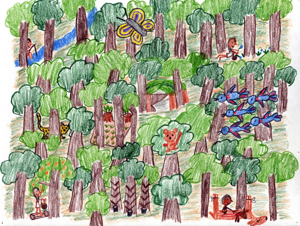 Child's drawing of forest scene with animals and humans